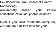 Developed the Blue Screen of Death? Not booting? Accidentally erased your lifetime collections of music, photos or data?  Even if you don't repair the computer, we can save all that data for you!